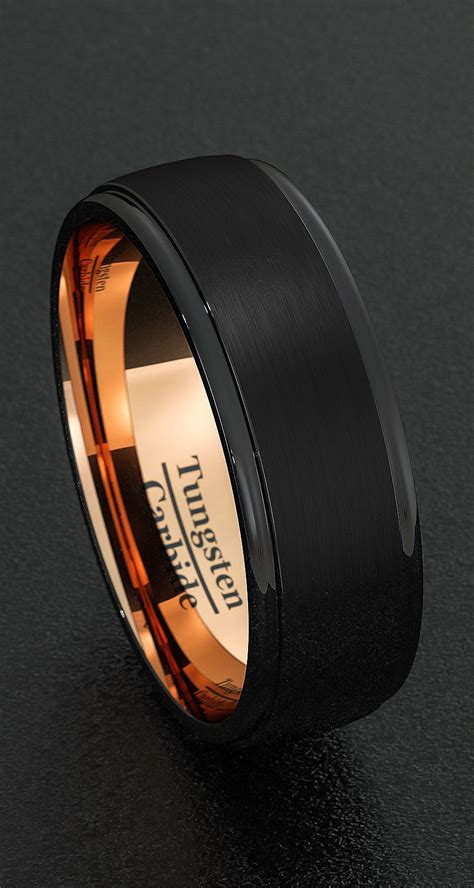 mens wedding bands 8mm tungsten rings black brushed step