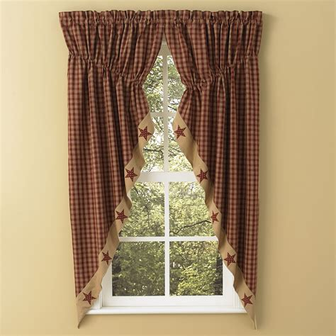 gathered swag curtains sturbridge star patch gathered swags prairie curtains park