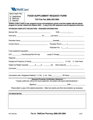 supplement a form wellcare food supplement request form fill