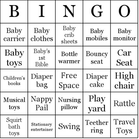 baby bingo card template baby shower gift bingo printable printable 360 degree