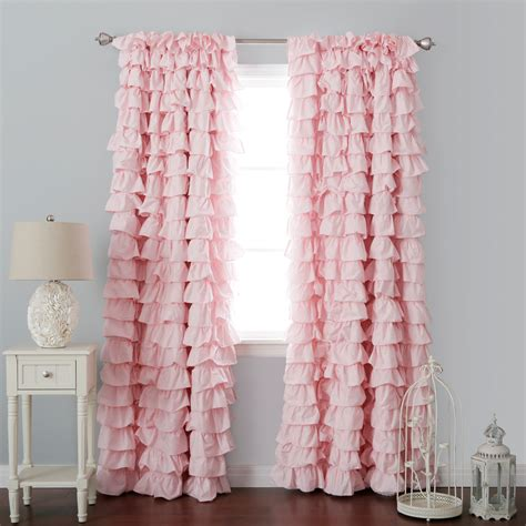Pink Blackout Curtains For Nursery Curtain Decor Ruffled Pink Curtains Ideas Ruffled Curtain Panels Blush Pink Sheer