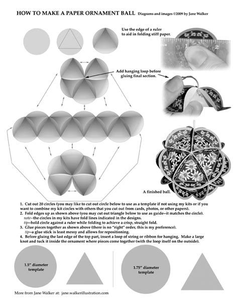 Art By Jane Walker How To Make Paper Ball Ornaments Paper Ornaments Templates