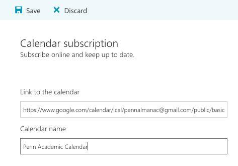 how to add penn academic calendar to o365 calendar