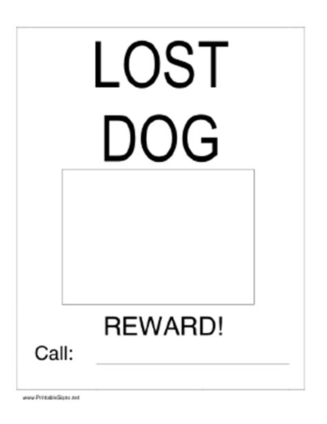 printable lost dog with picture sign