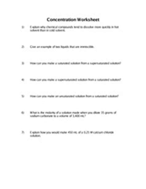 Concentration Of Solutions Worksheet Answers
