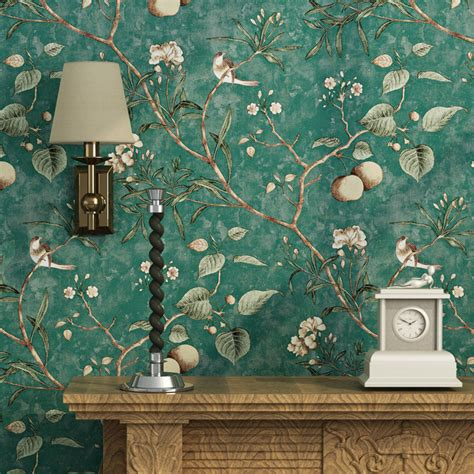 bird wallpaper home decor retro pastoral non woven fabric printed wallpaper apple
