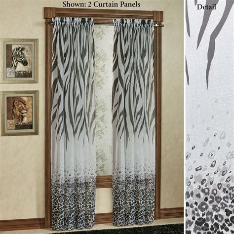 Print Drapery Panels Kenya Safari Black Animal Print Semi Sheer Curtain Panels