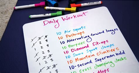 diy exercise whiteboard idea popsugar fitness