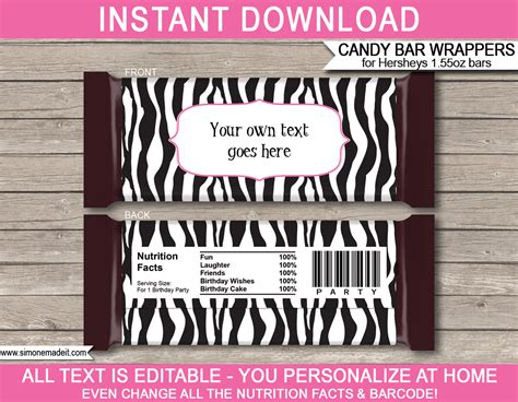 personalized chocolate wrappers template zebra hershey bar wrappers personalized bars