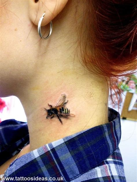 small bumble bee tattoo 3d bee in the neck bee