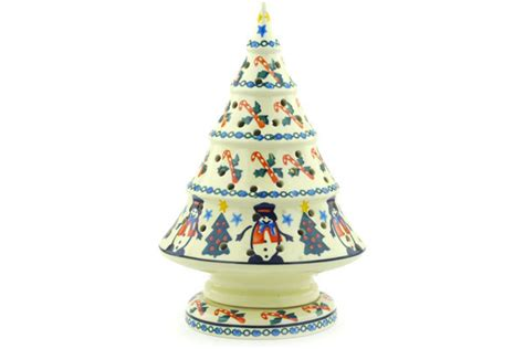 tree pattern candle holder polish pottery 9 inch christmas tree candle holder