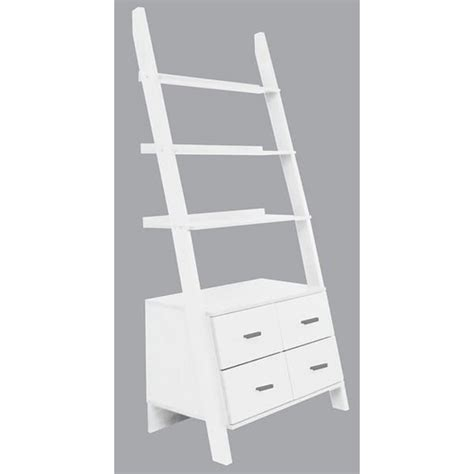 4d Concepts Leaning White Ladder Drawer Bookcase 8892504 White Ladder Shelf Bookcase