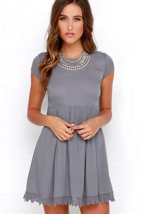 grey short sleeve dress grey crochet dress babydoll