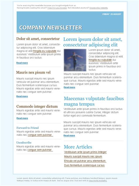 email marketing newsletter templates blue email marketing newsletter template free psd files