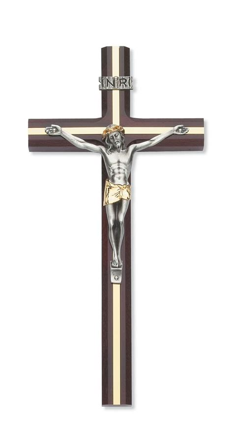 10 quot cherry wall crucifix with gold inlay