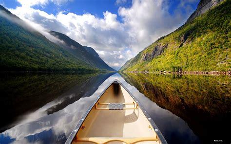kayak   calm river   mountains wallpaper