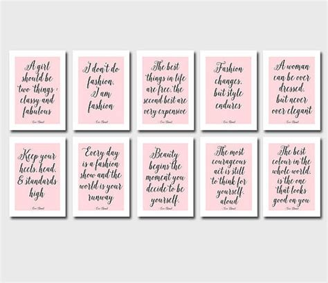 coco chanel quote printable art digital from ssvstudio on etsy set of 10 coco chanel quotes digital printables chanel art