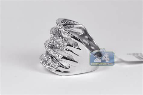 womens highway band ring 14k white gold 2 02 ct