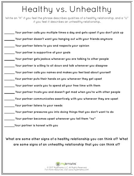 Healthy Relationships Worksheets by Healthy Relationships Worksheets