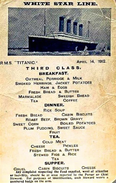 titanic third class menu in 1912 the world watched the titanic sink but just
