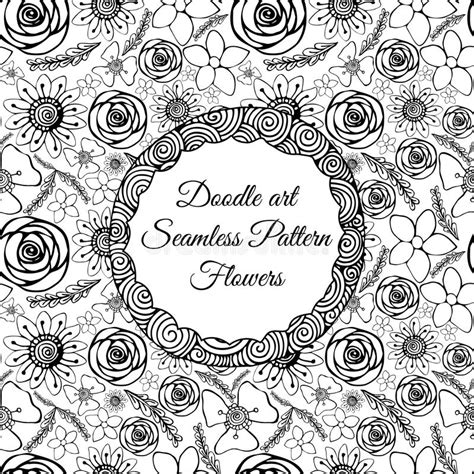 doodle pattern colouring books doodle art abstract seamless pattern with flowers vector