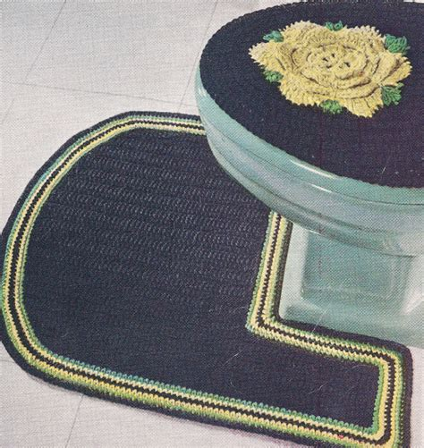 Bath Mat Sets Ireland Vintage Crochet Pattern Bathroom Set Rug Mat Ebay