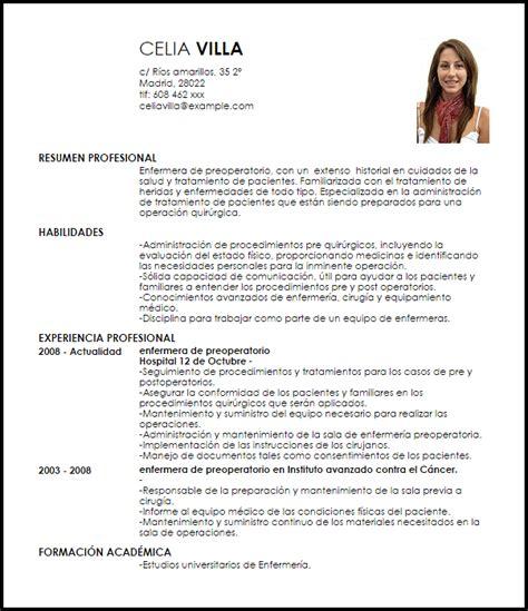 Modelo Curriculum Vitae De Enfermeria Tecnica Modelo Curriculum Vitae Enfermera De Preoperatorio Livecareer
