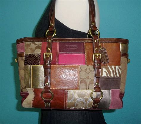 Coach Patchwork Purses - coach patchwork large leather gallery tote satchel