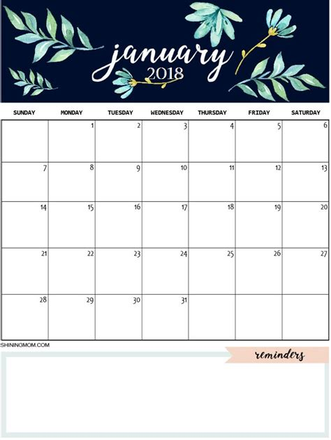 january 2018 printable colorful calendar free download