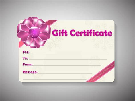 Gift Card Template by Free Gift Certificate Template Customizable