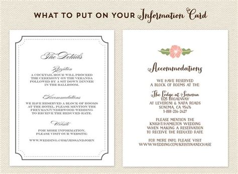 wedding information card template what to put on your info card wedding invitations