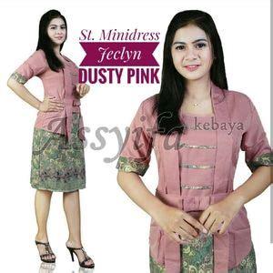 Setelan Kondangan Rok Lilit Kebaya Kutubaru Dusty Pink baju kebaya muslim desain modern model terbaru murah