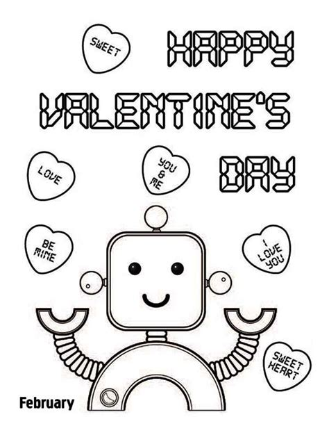 robot valentine coloring page happy valentine s day say the cute robot coloring page