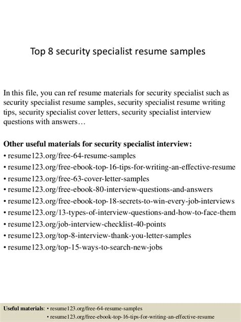 Physical Security Specialist Cover Letter by Top 8 Security Specialist Resume Sles