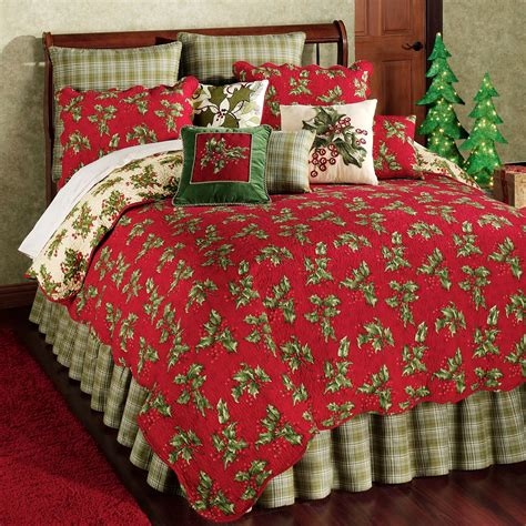 quilts comforters holly red holiday quilt bedding