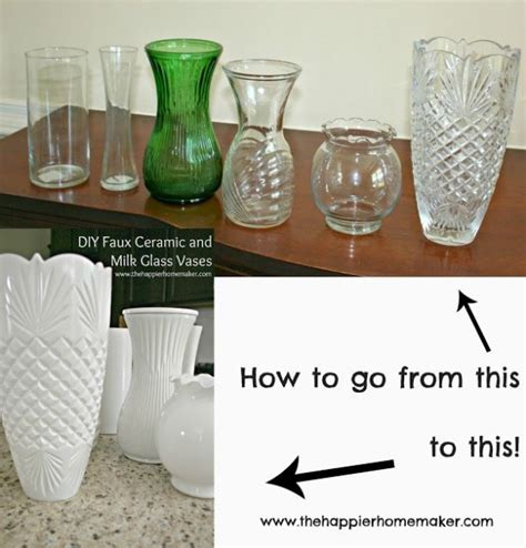 Glass And Ceramic Vases by Diy White Faux Ceramic And Milk Glass Vases