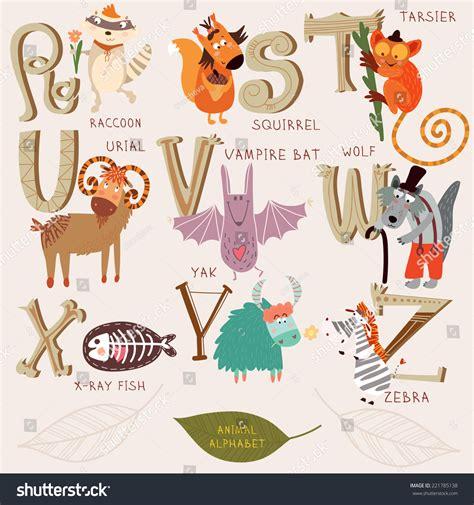 quot animals zoo alphabet with animals u animal alphabet r s t stock vector 221785138