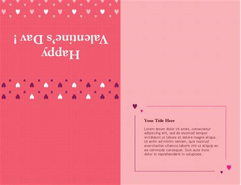 valentines day card quarter fold templates word s day card quarter fold office templates