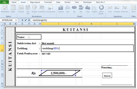 cara membuat form kwitansi di excel lihatmanuk membuat terbilang di kwitansi pada excel