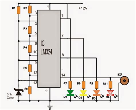 integrated circuit lm324 car battery voltage monitor circuit electronic circuit projects