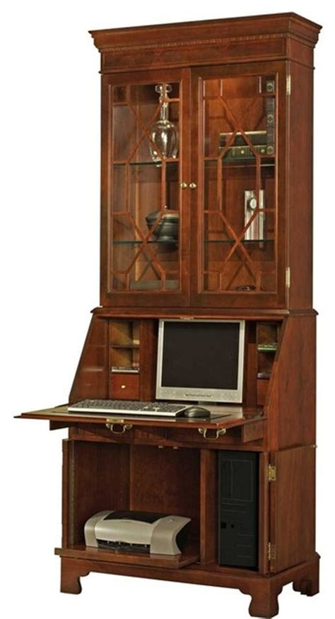 Drop Front Secretary With Glass Door Hutch T Drop Front Desk With Hutch