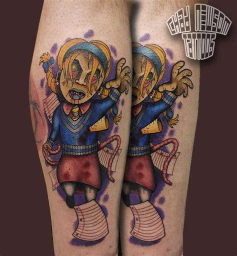 new school zombie girl tattoo zombie school girl by chad newsom tattoonow