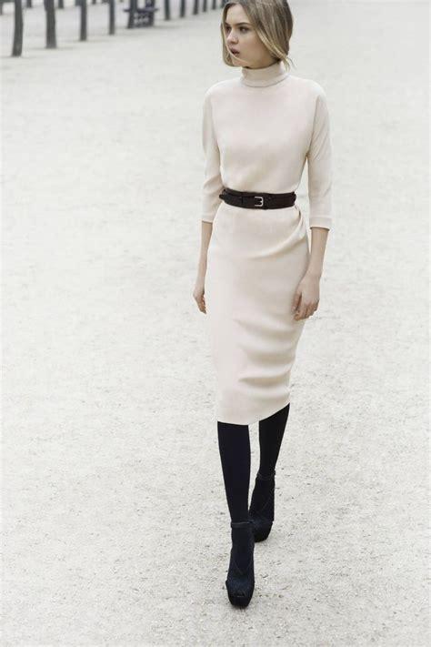 black white dress with tights chic minimal ivory turtleneck dress lookbook