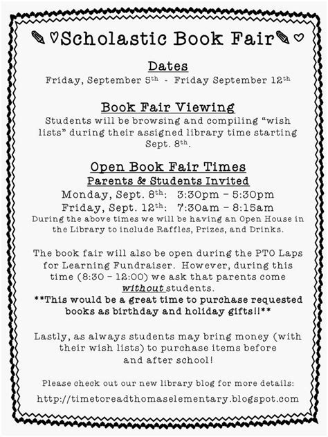 scholastic book fair flyer template time to read elementary