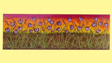 dipinti fiori astratti distesa di tulipani viola vendita quadri quadri