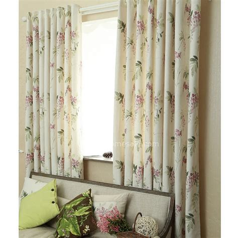natural floral curtains cheap window curtains in natural cotton and linen blended