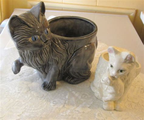 Cat Planter by Vintage 1980s Set Of 2 Ceramic Cat Planters 1 By Ritasgarden