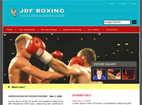Jdf Boxing Free Website Template Free Css Templates Free Css Boxing Templates Free