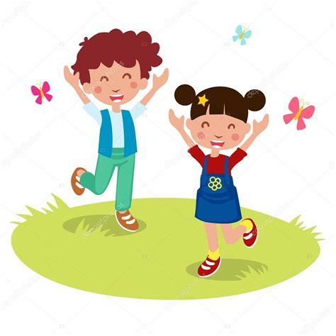 imagenes niños felices animadas vector ilustraci 243 n de dibujos animados de ni 241 os felices