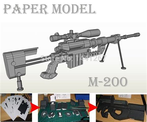 How To Make A Paper Wars Gun - 3d paper model m200 sniper rifle handmade diy paper gun
